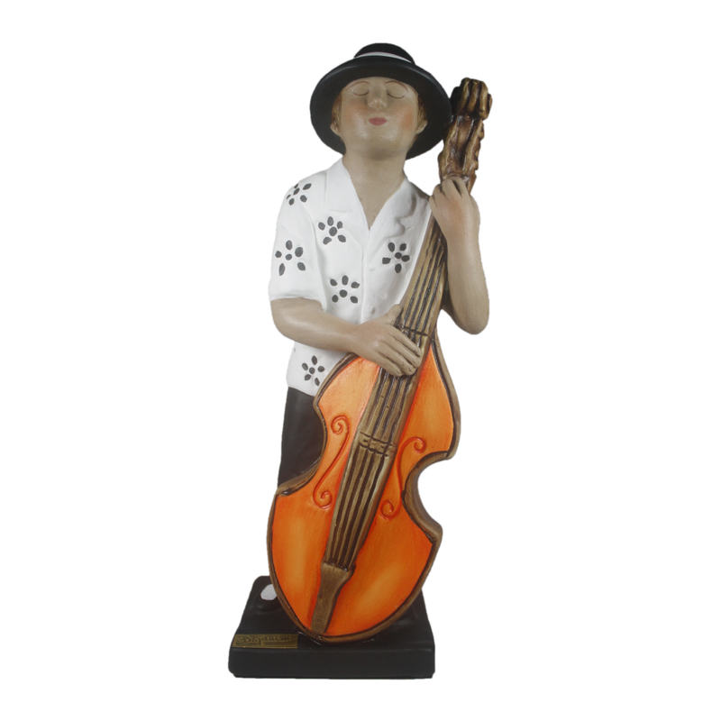 Ceramic Sculpture - Musical Figurine - Black and White Bass Player