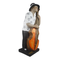 Musical decoration for musicians office & home - Painted Black and White Bass Player Figurine  Shop Online