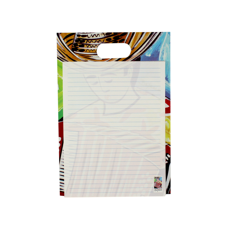Writing pad with handle - typical collection - accordionist colorful design - bojanini store