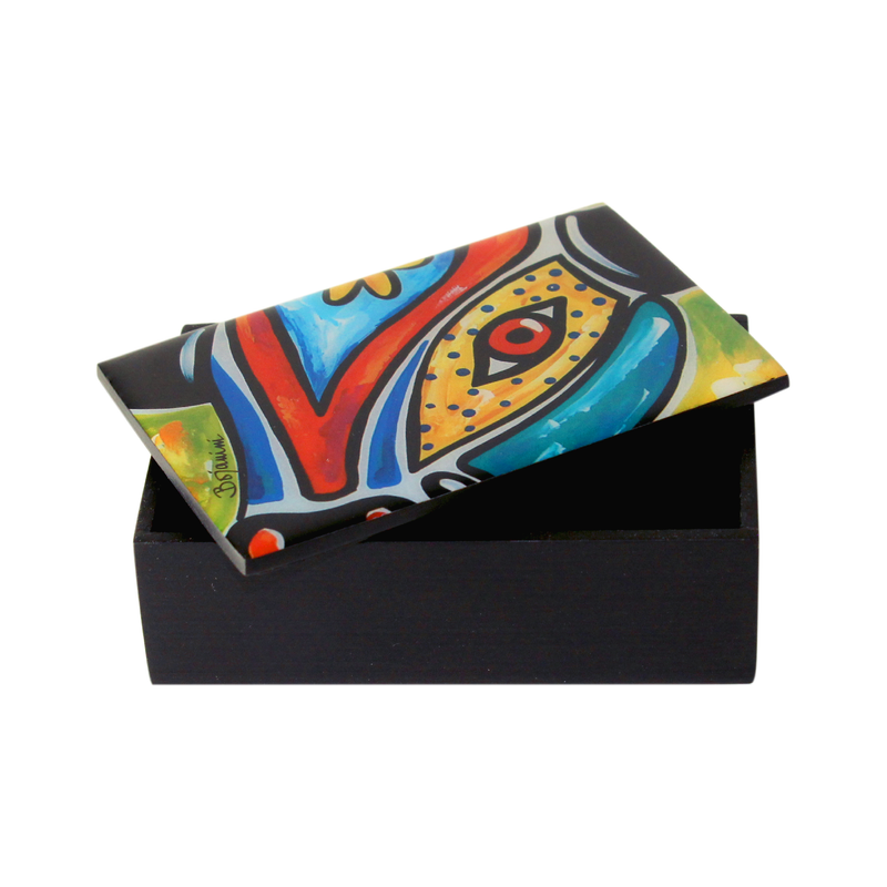 Business card artistic wooden box for carnival lovers available online