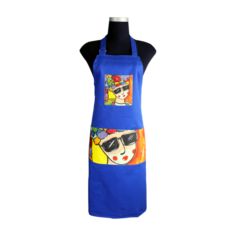 Blue Carnival Apron for cooking ideal for men and women - congo