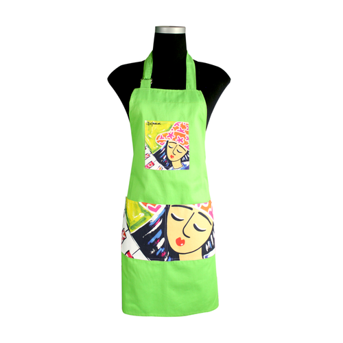 Green artistic Apron for cooking ideal for men and women