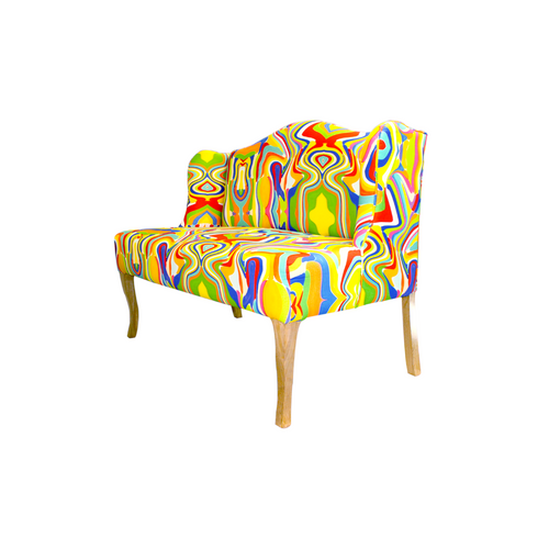 Lateral view of this colorful and stylish loveseat