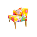 Lateral view of this floral and stylish loveseat