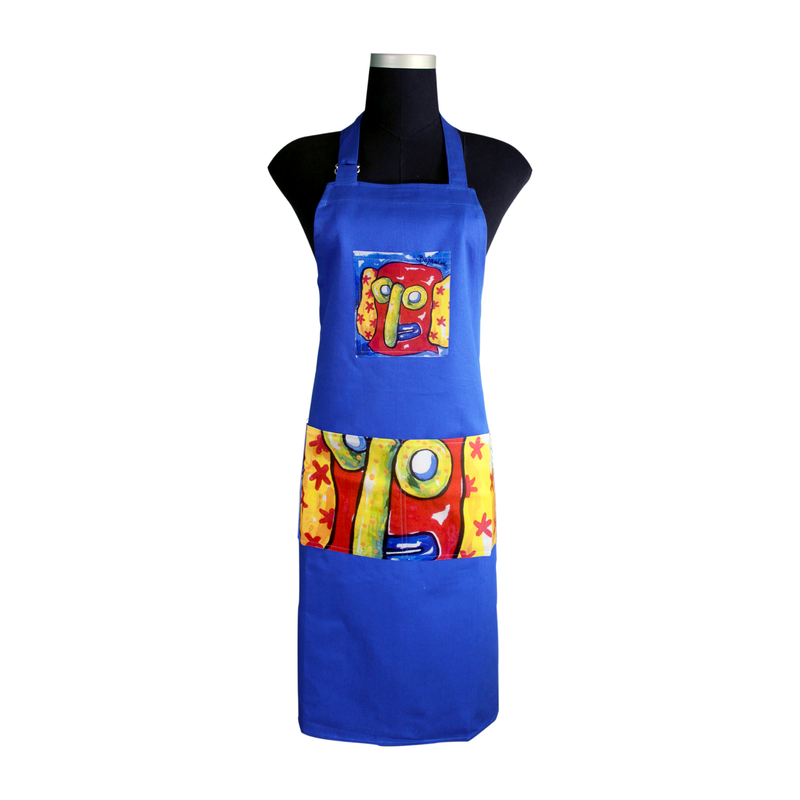 Blue Carnival Apron for cooking ideal for men and women