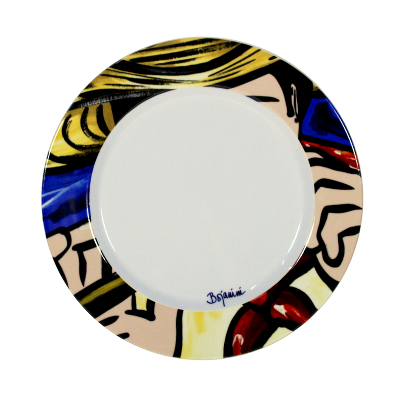 Colorful Dinnner plate - Colombian inspired Flauta e Millo hand painted dinner plates - Bojanini Store
