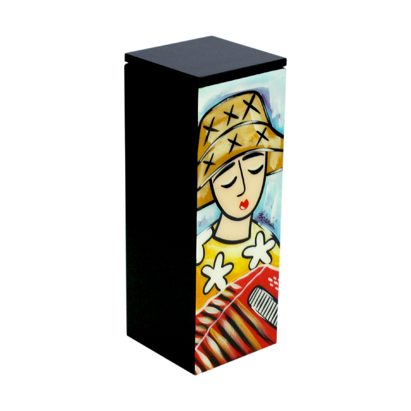 Accordionist Portrait hand painted Wooden Wine Box