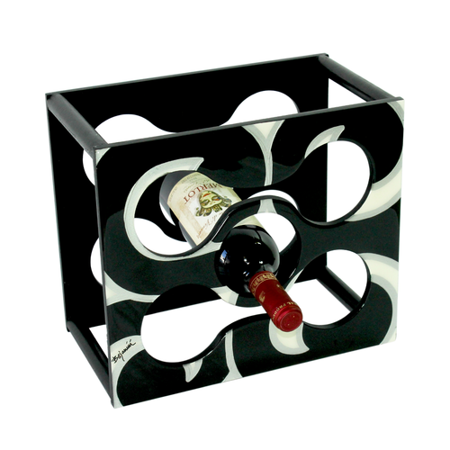 Elegant black and white wine rack for wine lovers