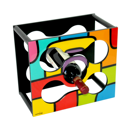 Vibrant geometric hand painted Wine Rack
