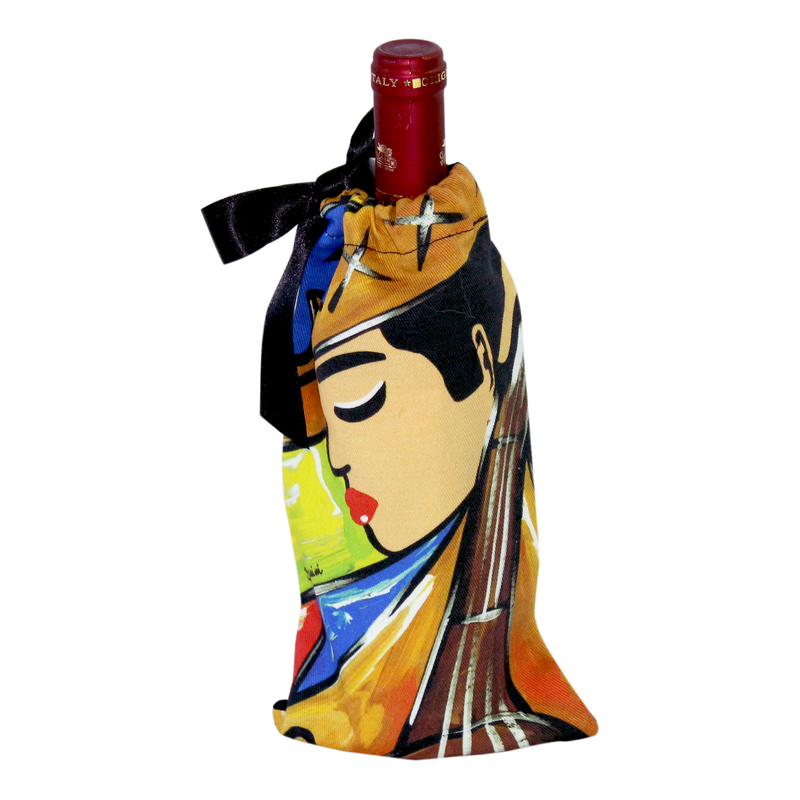 Wine gift bag with a bass player design ideal for wine & music lovers available online