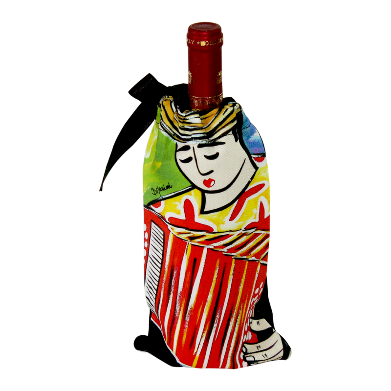 Buy your Colombian Inspired Wine Bag with ourAccordionist Design exclusive from our Musicians Collection