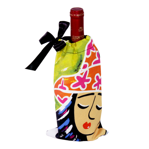 Wine Cotton Bag - Girl with Piano Design