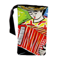 Wine gift bag with accordionist design ideal for wine & music lovers available online