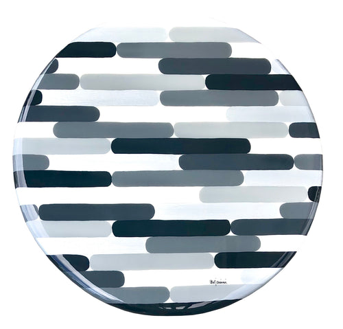 Bojanini - Lazy Susan  L - Brushstrokes Silver & Gray - Unique Piece