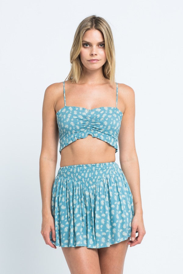 Ruched Floral Crop