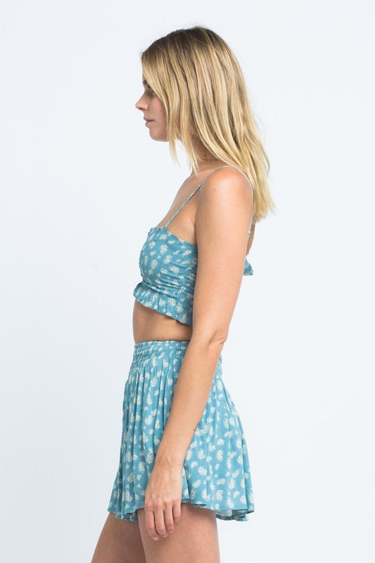 Ruched Floral Crop Blue