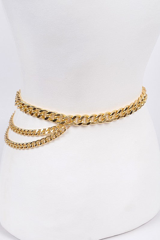 Multi-Strand Chain Belt Gold