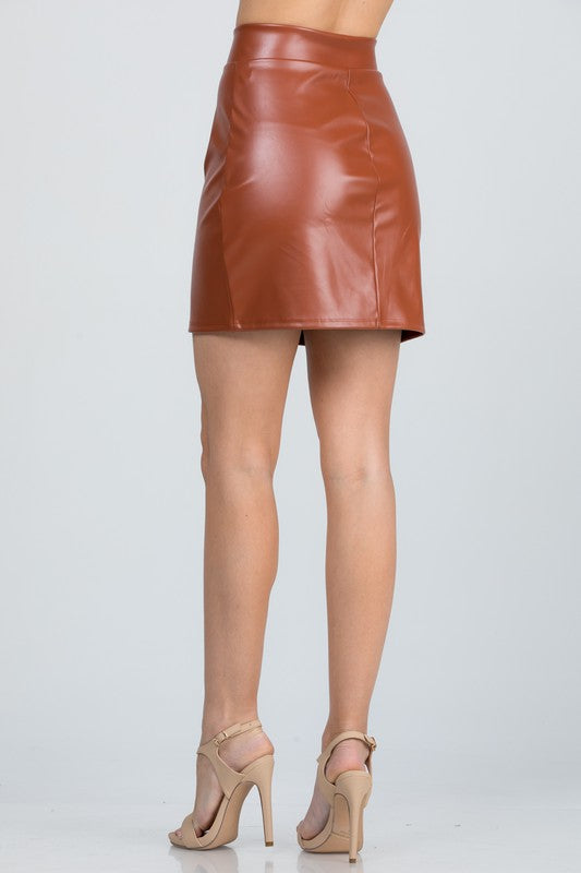 Zip-Up Pleather Mini