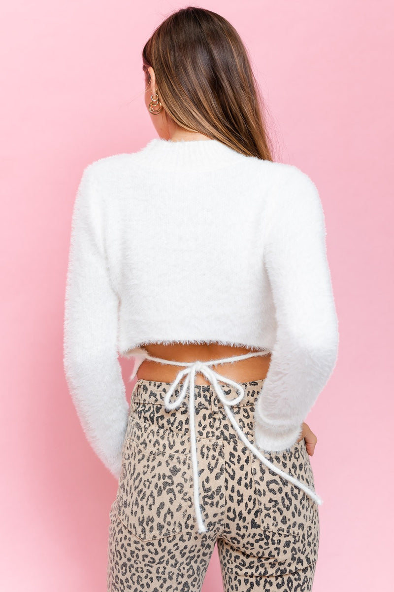 Fluffy Tie-Back Sweater