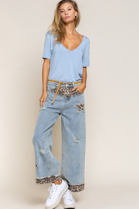 Patch It Up Wide-Leg Denim