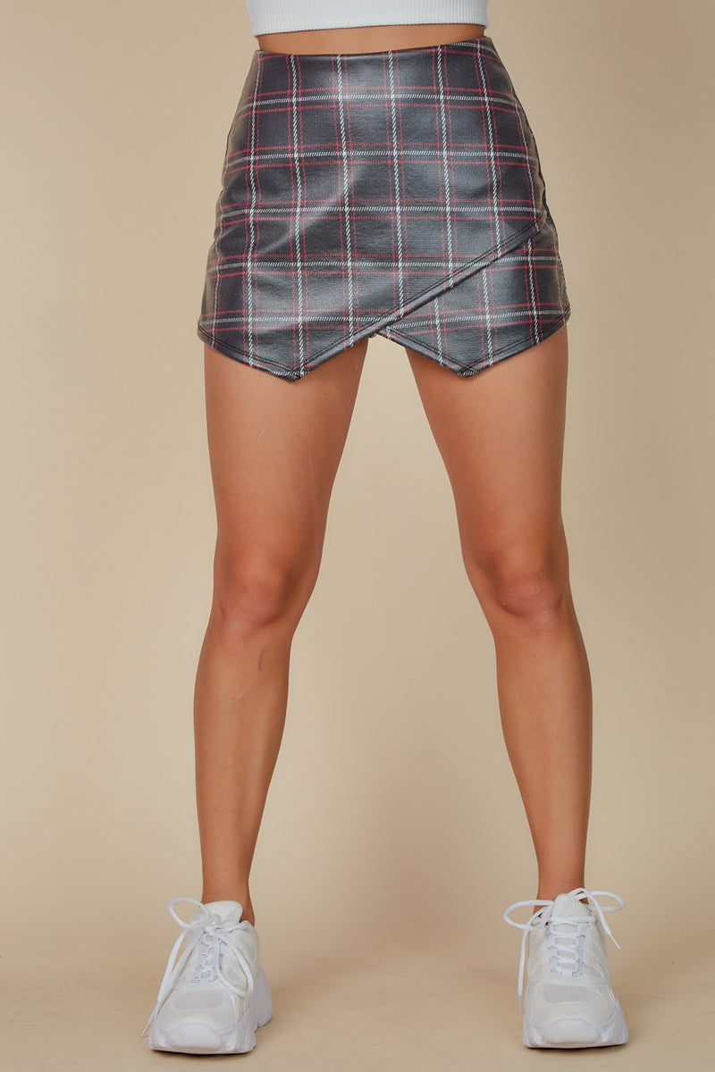 Plaid Pleather Skort