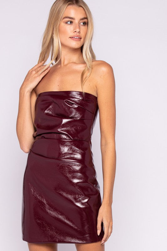 Strapless Pleather Dress