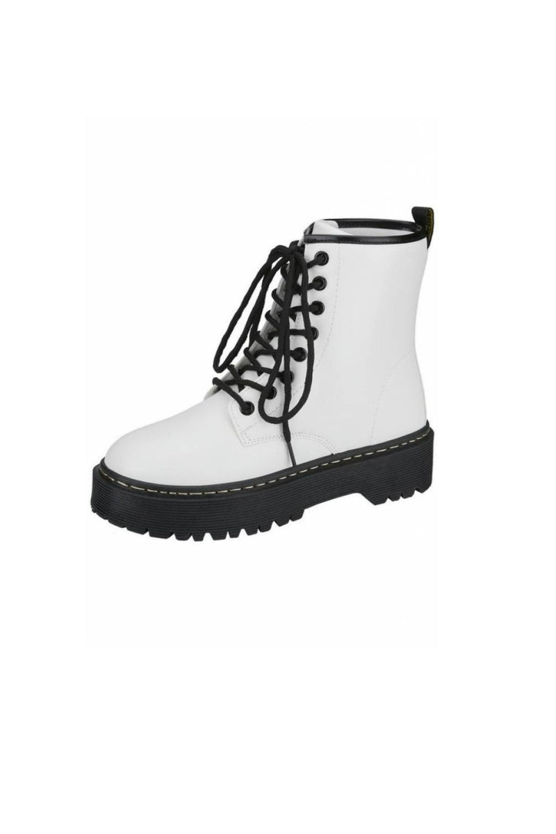 Louisa Combat Boot White RESTOCK