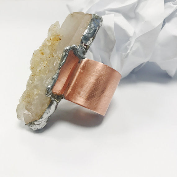 Oversized Raw Quartz Crystal Ring