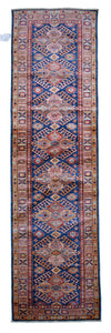 "New Handmade Afghani Super Kazak Runner > Design # 2419 > 2'-7"" X 9'-10"""