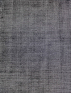New Handmade Modern Loop-Cut Bamboo Silk & Wool Rug - Charcoal Color