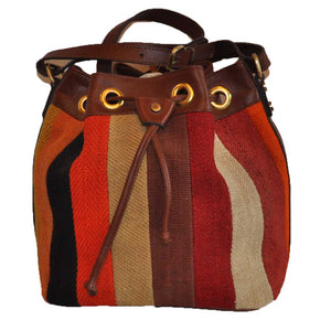 "Turkish Vintage Kilim Bag-b:06 B:06 Size: W: 12"" H: 10"" D: 6"" Drop Length: 13"""