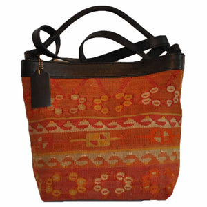 "Turkish Vintage Kilim Bag-b:17 B:17 Size: W: 12"" H: 10"" D: 4"" Drop Length: 16"""