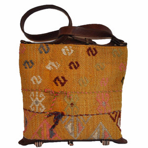 "Turkish Vintage Kilim Bag-b:21 B:21 Size: W: 12"" H: 12"" D: 5"" Drop Length: 21"""