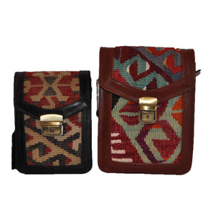 "Turkish Vintage Kilim Bag-b:38-l B:38-L Size: W: 6"" H: 8"" D: 3"" Drop Length: 16"""