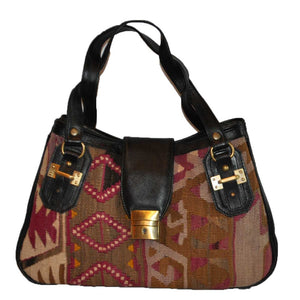"Turkish Vintage Kilim Bag-b:41 B:41 Size: W: 16"" H: 10"" D: 5"" Drop Length: 9"""
