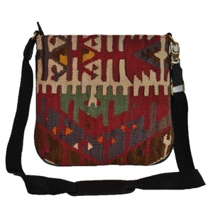 "Turkish Vintage Kilim Bag-b:42 B:42 Size: W: 12"" H: 12"" D: 2"" Drop Length: 24"""