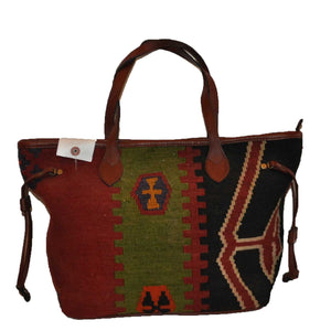 "Turkish Vintage Kilim Bag-b:57 B:57 Size: W: 18"" H: 11"" D: 6"" Drop Length: 9"""