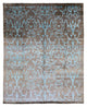 "Transitional Posh Brown Turquoise Bamboo Silk Rug > Design # 1963 > 7' - 11"" X 9' - 10"""