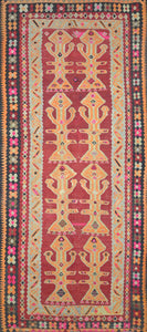 "Turkish Kilim Rug > Design # 1108 > 5'-4"" X 12'-1"""