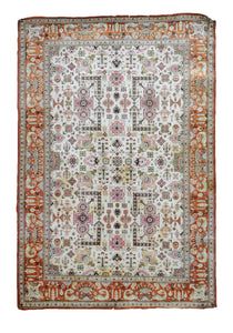 Old Persian Silk Rug U2643