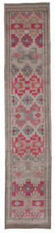 "Handmade Turkish Runner Beige Boho Rug > Design# 32729 > Size: 2'-11"" x 14'-2"" [ONLINE ONLY]"