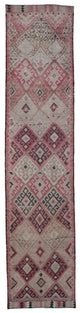"Handmade Turkish Runner Beige Boho Rug > Design# 32797 > Size: 2'-10"" x 12'-8"" [ONLINE ONLY]"