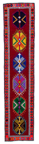 "Handmade Turkish Runner Red Boho Rug > Design# 32803 > Size: 2'-7"" x 11'-11"" [ONLINE ONLY]"