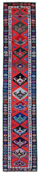 "Handmade Turkish Runner Red Boho Rug > Design# 32871 > Size: 2'-7"" x 13'-0"" [ONLINE ONLY]"
