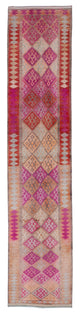 "Handmade Turkish Runner Pink Boho Rug > Design# 32880 > Size: 2'-8"" x 12'-7"" [ONLINE ONLY]"