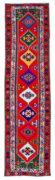 "Handmade Turkish Runner Red Boho Rug > Design# 32907 > Size: 2'-7"" x 10'-3"" [ONLINE ONLY]"
