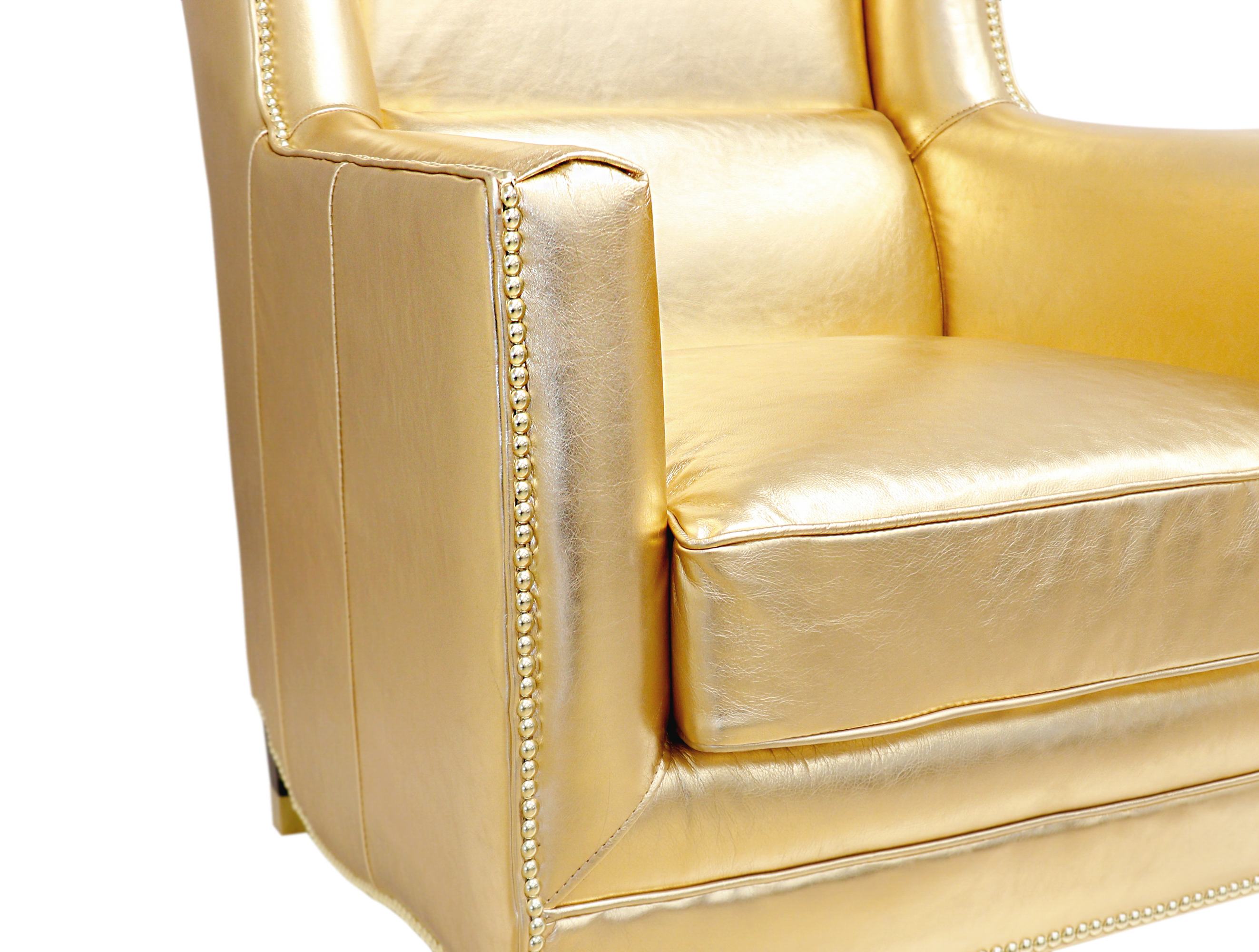 Vicenza Collection Wing Chair, Gold > Design# CHAIR-976C > [ONLINE ONLY]