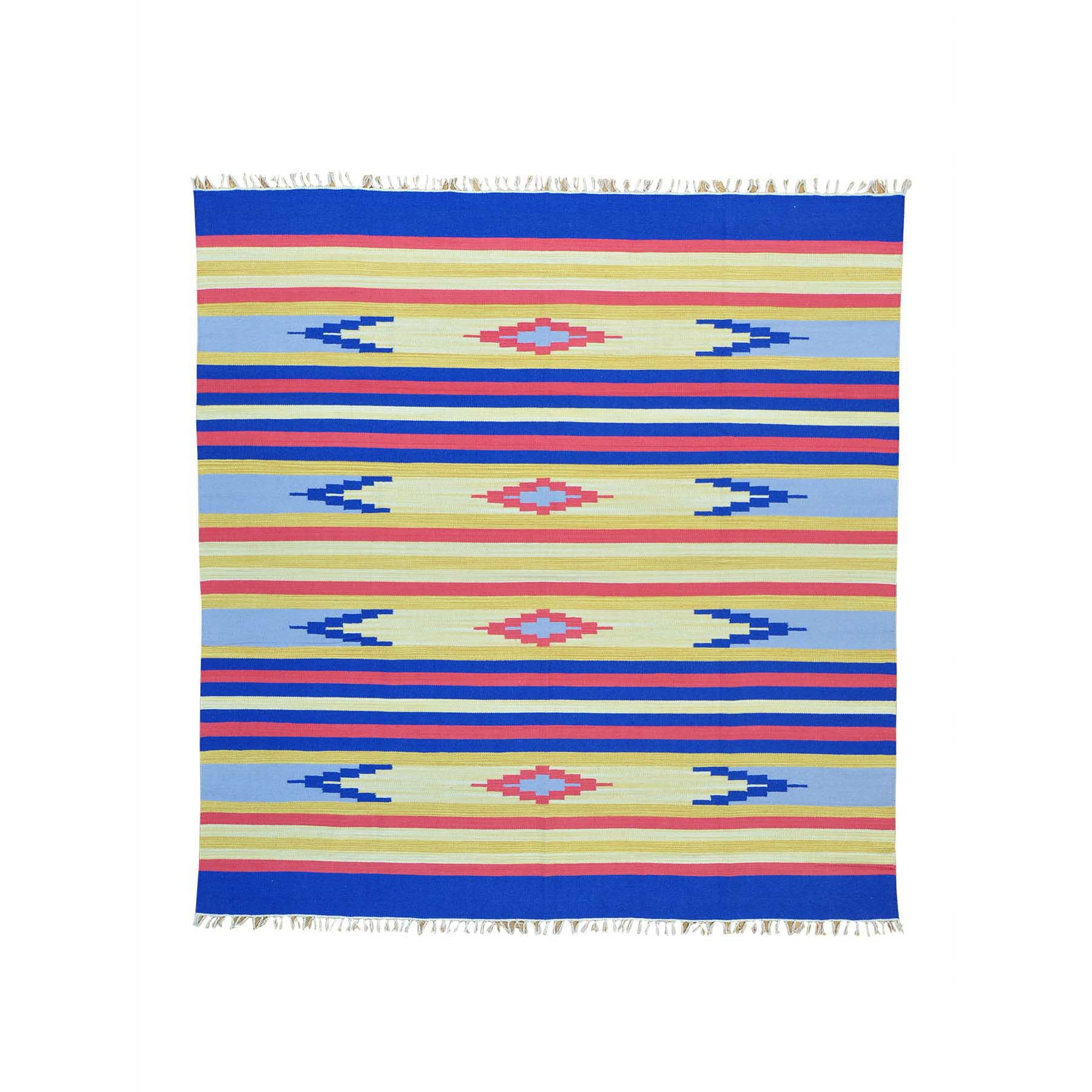 "Handmade Flat Weave Square Rug > Design# SH26054 > Size: 8'-0"" x 8'-0"" [ONLINE ONLY]"