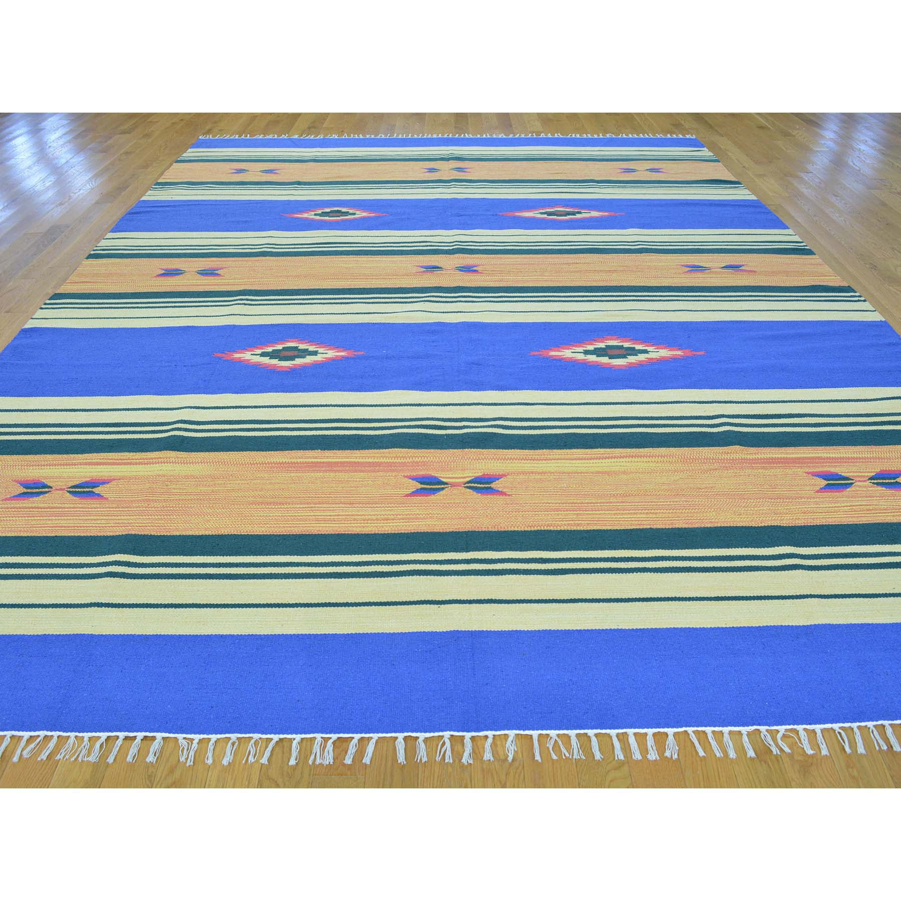 "Handmade Flat Weave Rectangle Rug > Design# SH26081 > Size: 8'-10"" x 12'-1"" [ONLINE ONLY]"