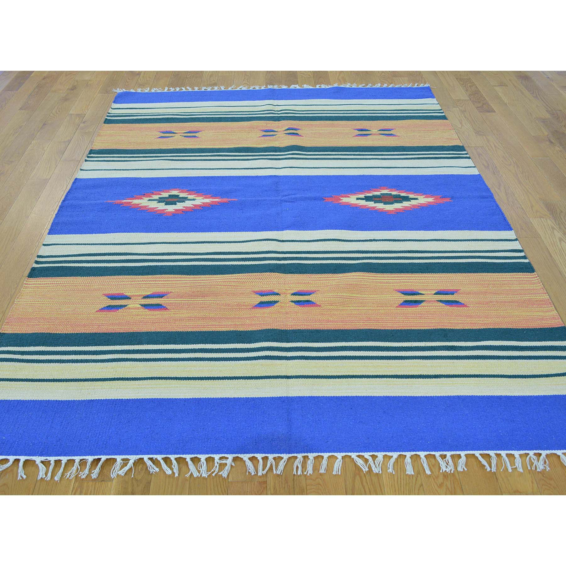 "Handmade Flat Weave Rectangle Rug > Design# SH26129 > Size: 5'-1"" x 7'-0"" [ONLINE ONLY]"